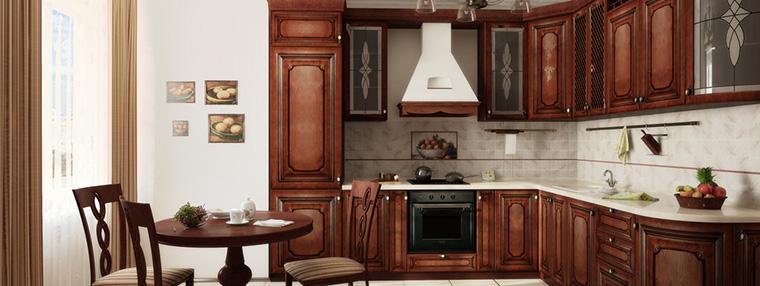 Угловые классические кухни из массива